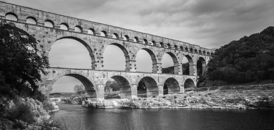 Pont du Gard, an Aqueduct built by the romans centuries ago. And it holds together remarkably! 24mm, Yellow Filter